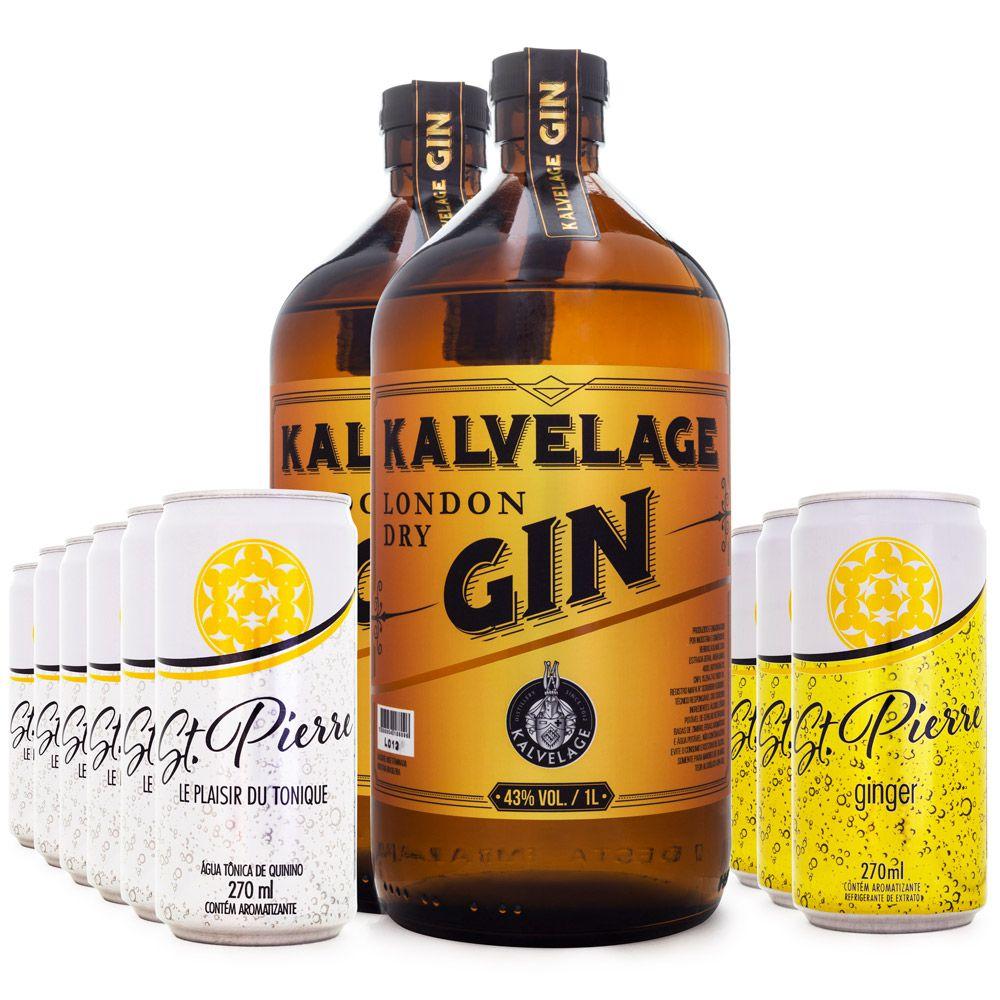 Combo 2x Gin Kalvelage + 6x Tônica St. Pierre + 6x Ginger Beer St. Pierre