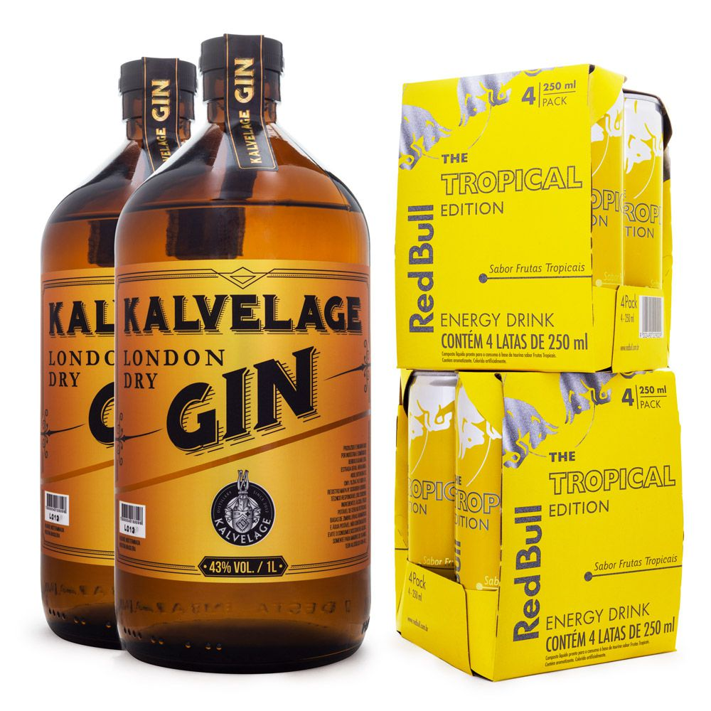 Combo 2x Gin Kalvelage London Dry 1L + 8x Energético Red Bull Tropical Edition 250ml