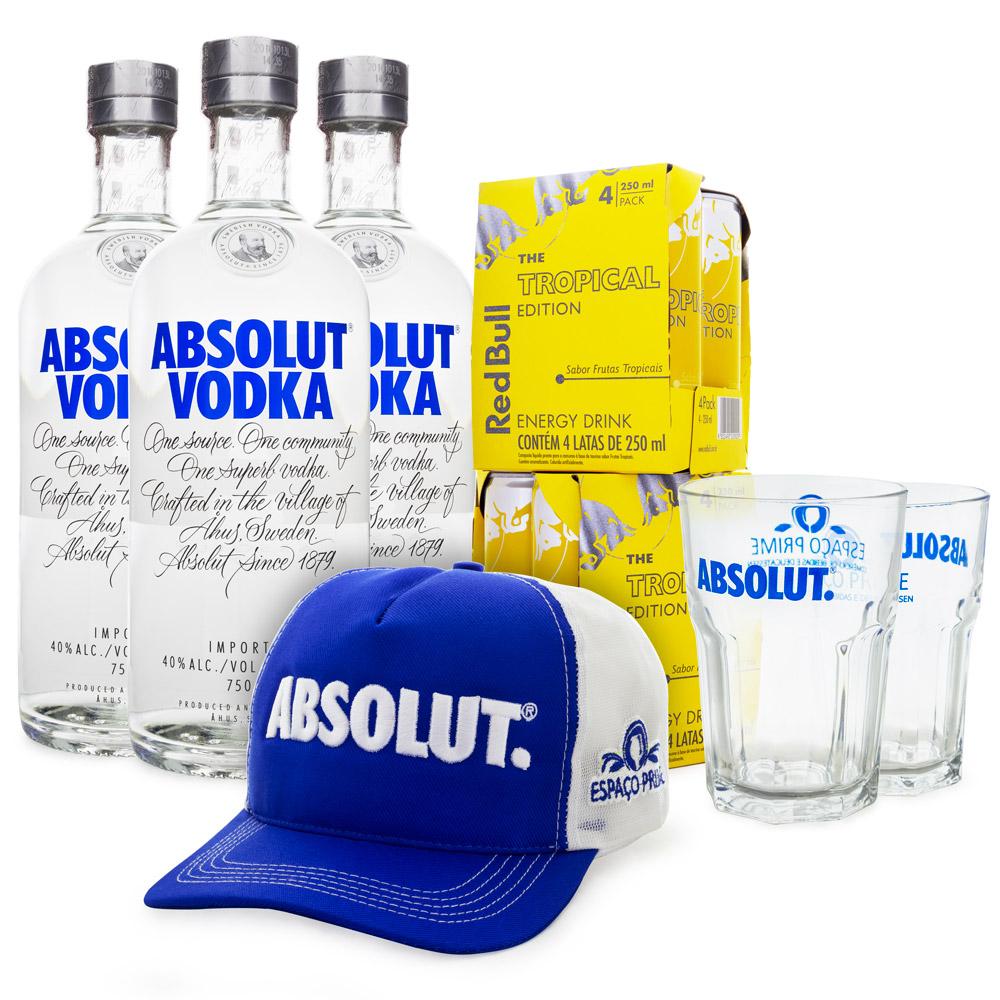 Combo Absolut Vodka - RedBull Tropical + Boné + Copos