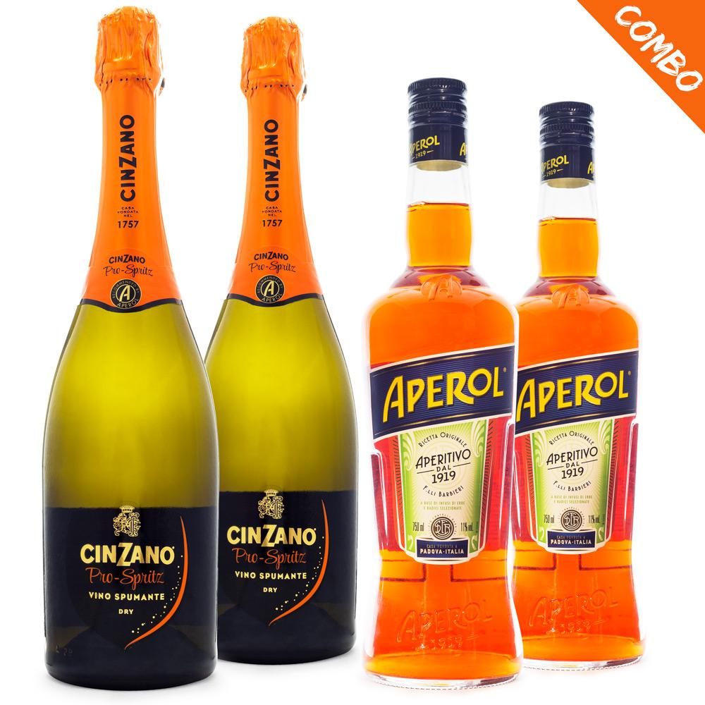 Combo Aperol Spritz - 2 Aperol 750ml + 2 Espumantes Cinzano Pro-Spritz 750ml