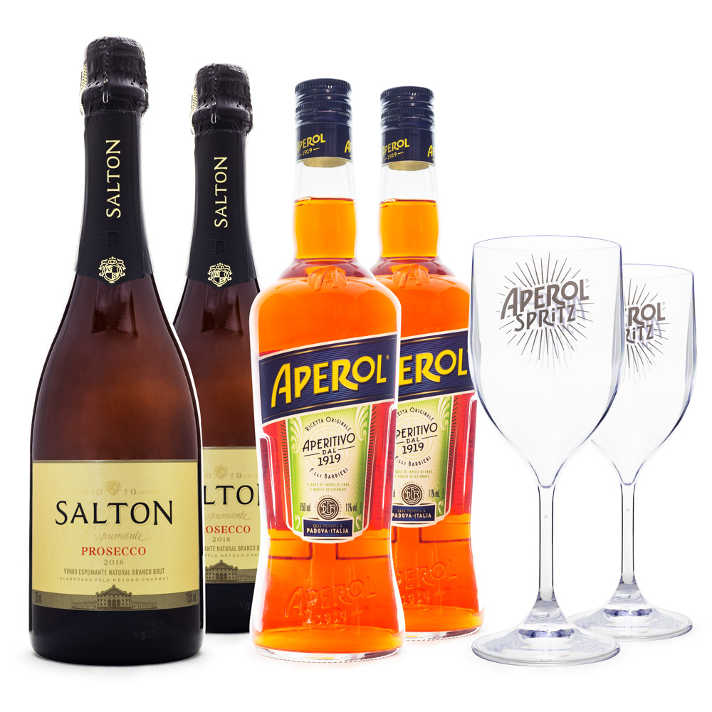 Combo Aperol Spritz - 2x Aperol + 2x Salton Prosecco + 2x Taças de Acrílico