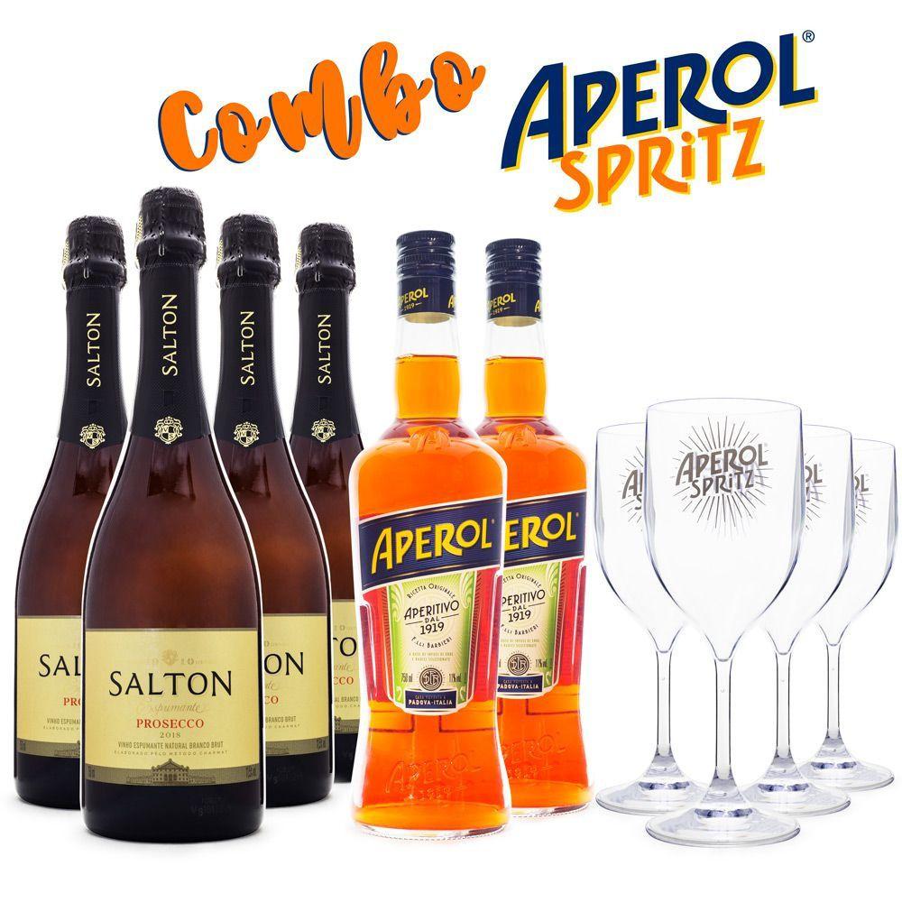 Combo Aperol Spritz - 2x Aperol + 4x Salton Prosecco + 4x Taças