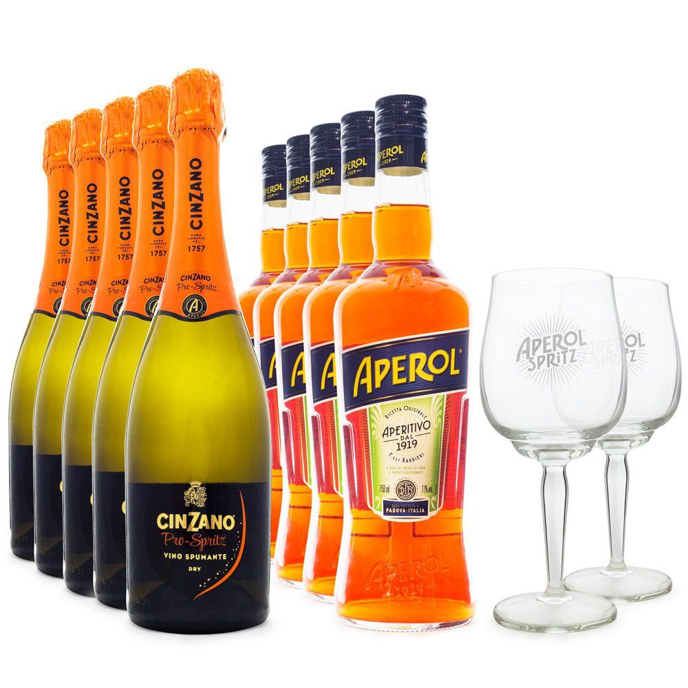 Combo Aperol Spritz Jumbo- 5x Aperol + 5x Espumante Italiano Cinzano Pro-Spritz + 2 Taças de Vidro