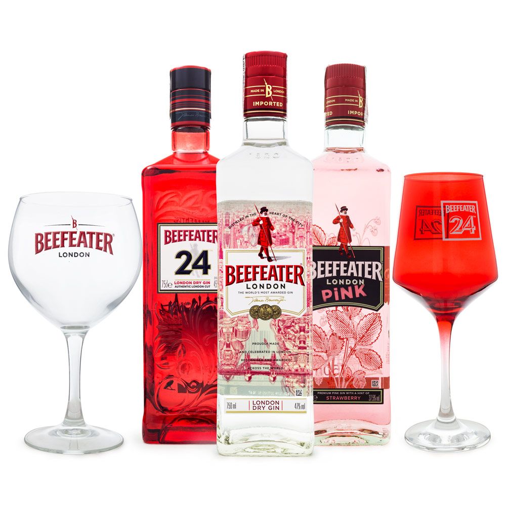 Combo Beefeater Gin 750ml + Beefeater 24 750ml + Beefeater Pink 750ml + 2 Taças de Vidro Exclusivas