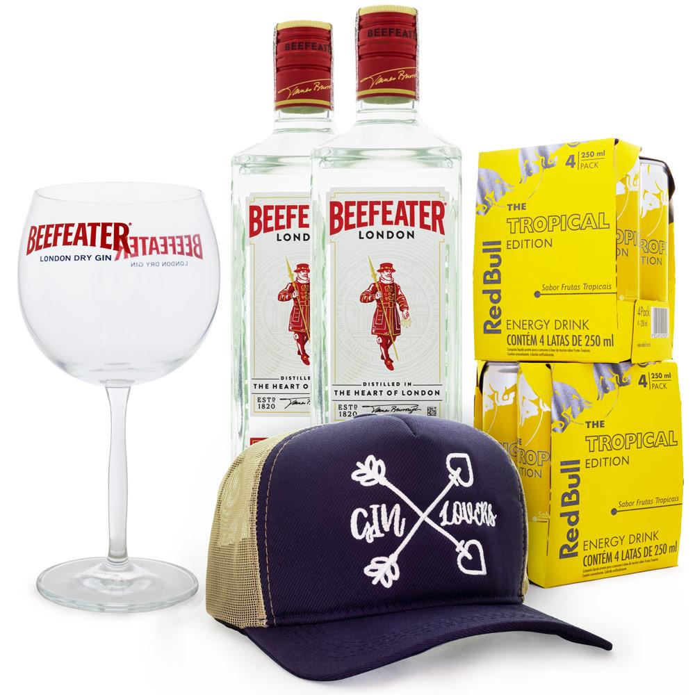 Combo Boné Gin Lovers - 2 Gin Beefeater 750ml + 8 Red Bull Tropical + Taça de Cristal Beefeater + Boné