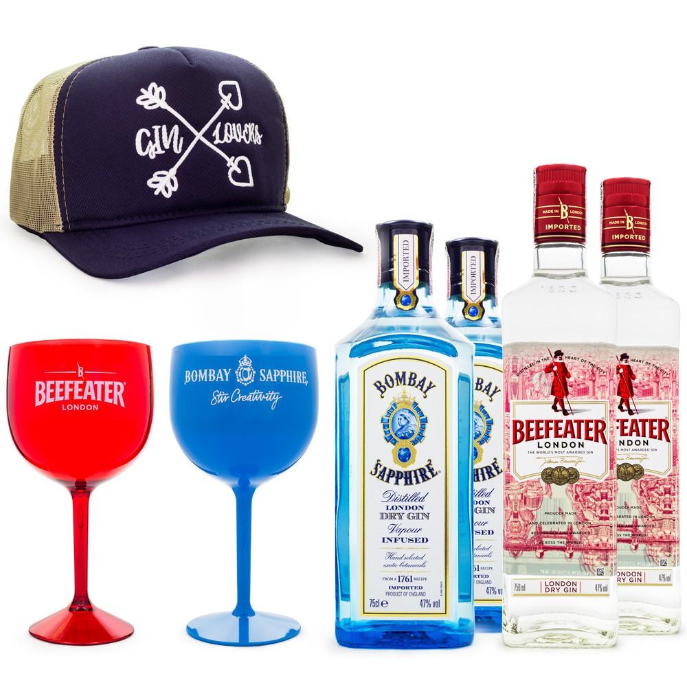 Combo Boné Gin Lovers - 2 Gin Bombay Sapphire 750ml + 2 Gin Beefeater 750ml + 4 Taças Plásticas