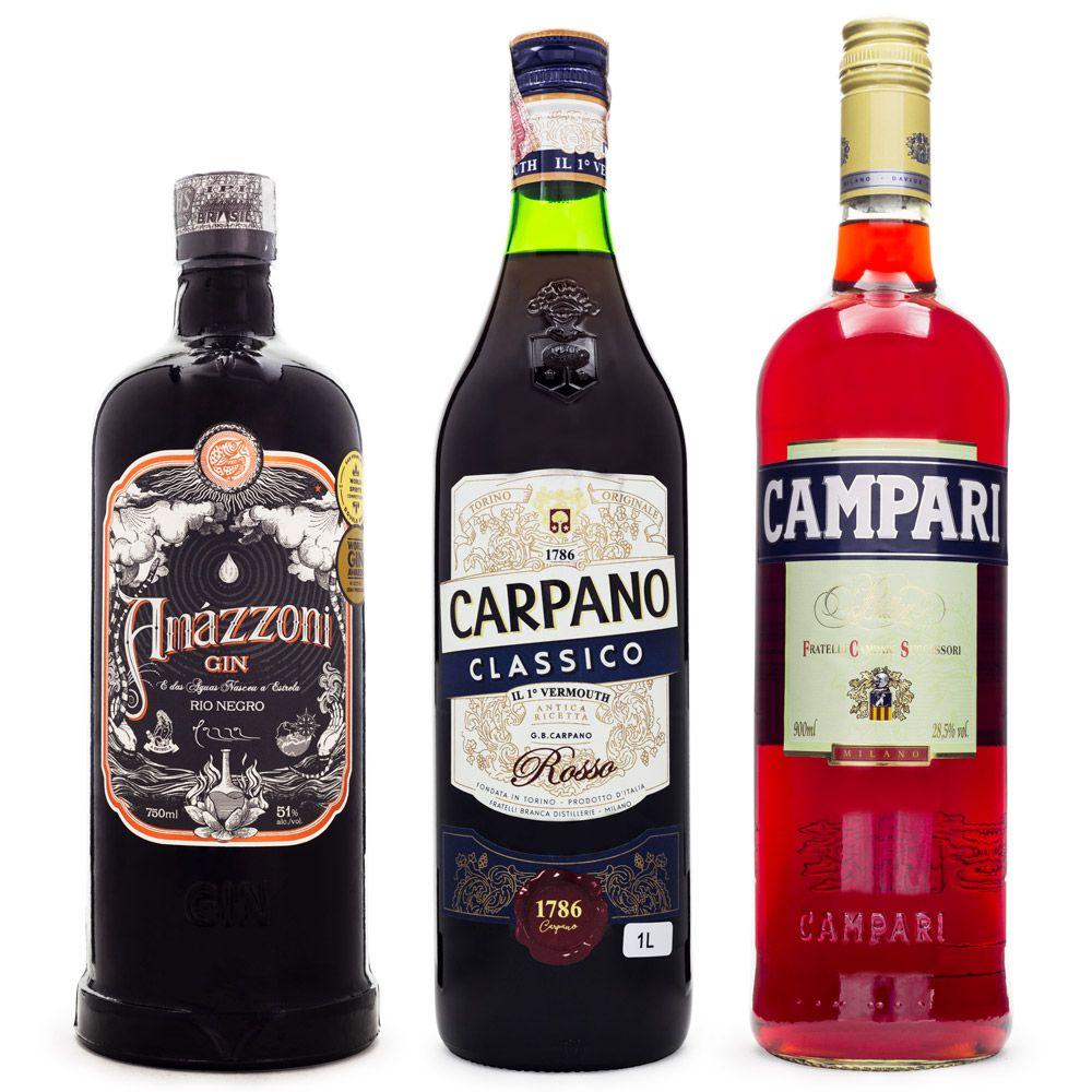 Combo Cocktail Negroni Premium - Gin Amázzoni Rio Negro + Vermouth Carpano Classico Rosso + Campari