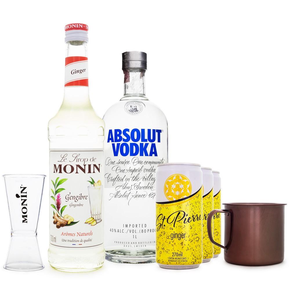 Combo Drink Ginger Mule - MONIN Gengibre 700ML + Vodka Absolut 750ML + Ginger Beer St. Pierre + Dosador MONIN