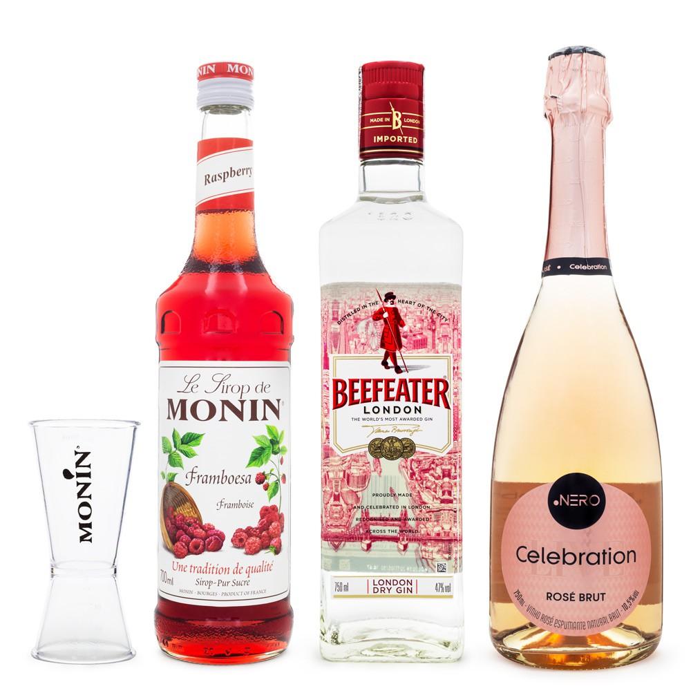 Combo Drink Red Velvet - MONIN Framboesa + Gin Beefeater + Espumante Ponto Nero Rosé + Dosador MONIN