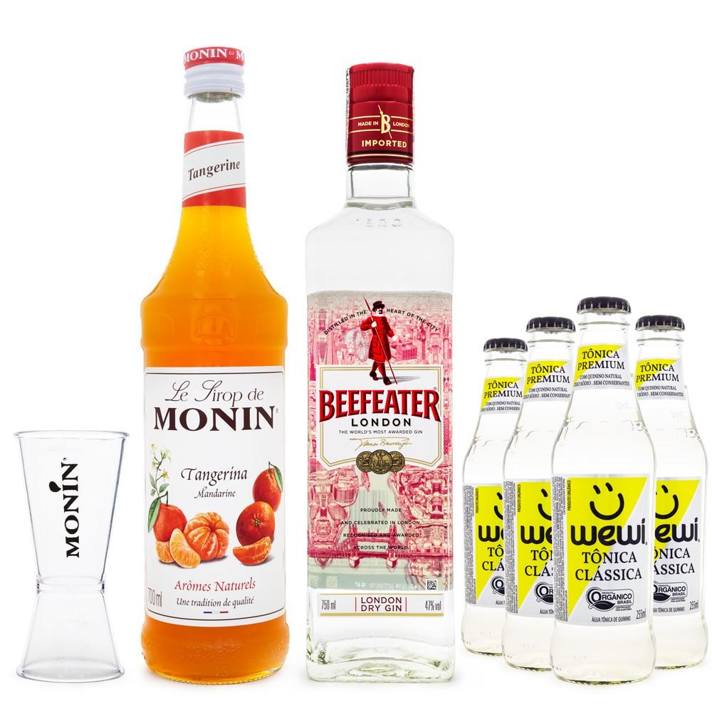Combo Drink Tangerina G&T - MONIN Tangerina + Gin Beefeater + Tônica Wewi + Dosador MONIN