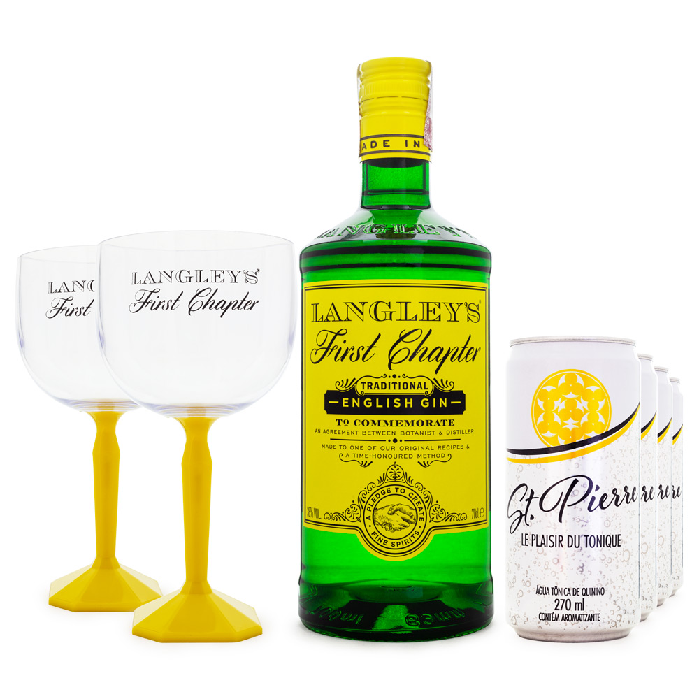 Combo G&T Gin Langley's First Chapter 700ml + 6 Tônicas St. Pierre 270ml + 2 Taças de Plástico Langley's