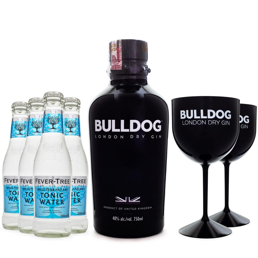 Combo G&T Bulldog Gin + 4 Tônicas Fever-Tree + 2 Taças Bulldog de Plástico