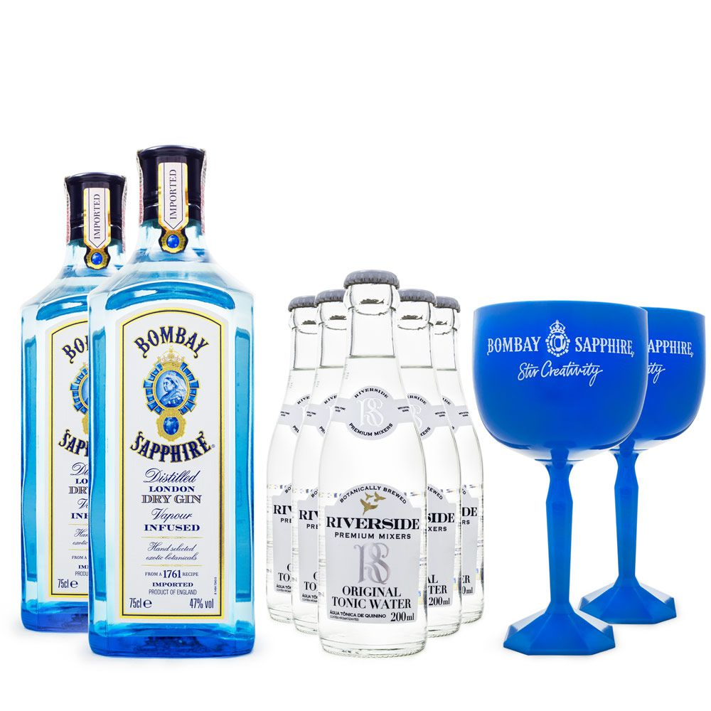 Combo G&T 2 Gin Bombay Sapphire 750ml + 5 Tônicas Riverside 200ml + 2 Taças de Plástico Bombay