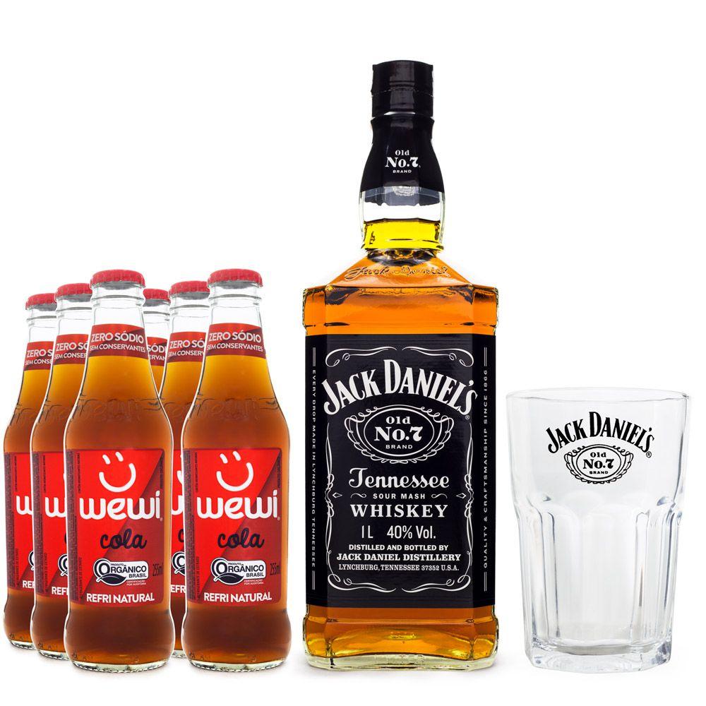 Combo Jack Daniel's e Cola - 1 Jack Daniel's + 6 Wewi Cola + 1 Copo de Vidro Jack Daniel's