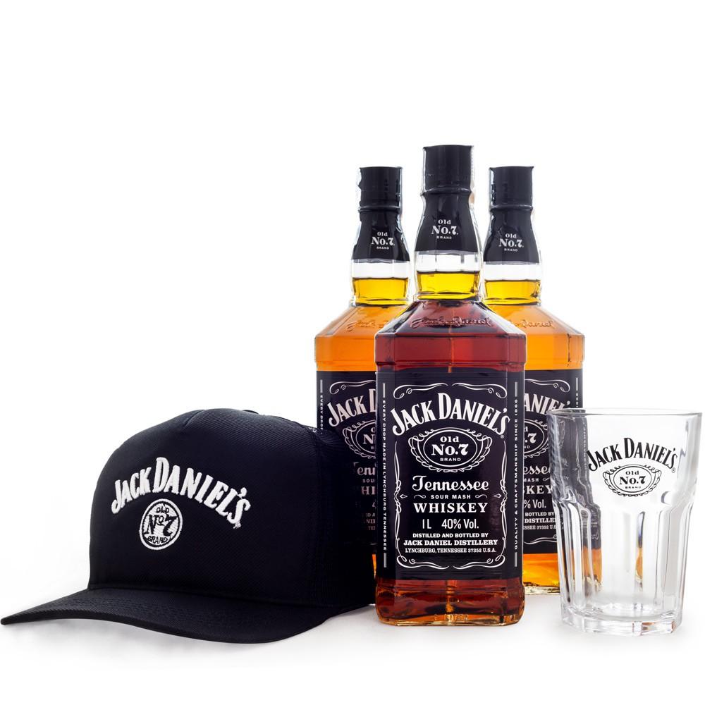Combo Jack Daniel's Fan Club - 3un Jack Daniel's 1L + Copo Jack and Coke + Boné Exclusivo