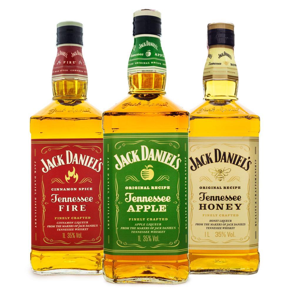 Combo Jack Daniel's Licores - Fire 1L + Apple 1L + Honey 1L