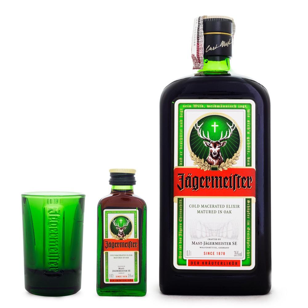 Combo Jagermeister 700ml + Copo Shot Exclusivo + Miniatura Jagermeister 20ml