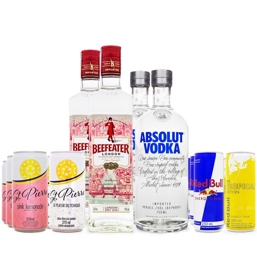Combo Jumbo Festa em Casa - 2 Gins + 2 Vodkas + 16 Energéticos + 18 Tônicas