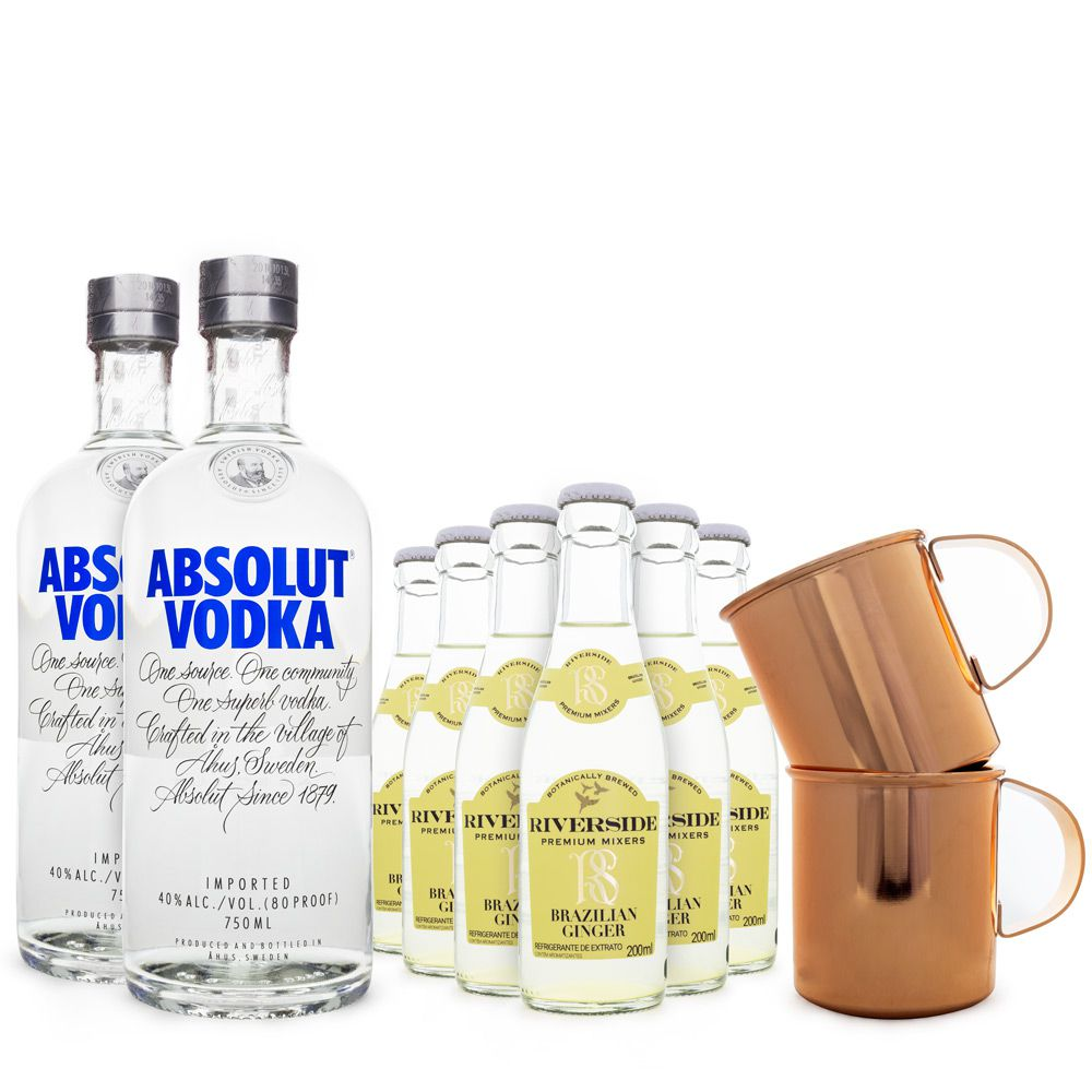 Combo Moscow Mule Clássico - 2x Absolut Vodka + 6x Ginger Beer Riverside + 2x Canecas