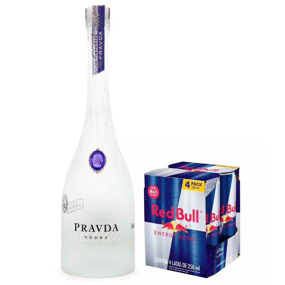 Combo Pravda Vodka 750ml + 4 Energético Red Bull 250ml