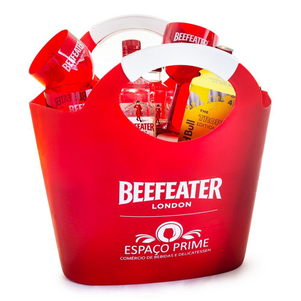 Combo New Bag Beefeater Gin - 3 Beefeater + 12 RedBull Tropical + 12 Tônicas St. Pierre + 4 Taças de Acrílico Beefeater