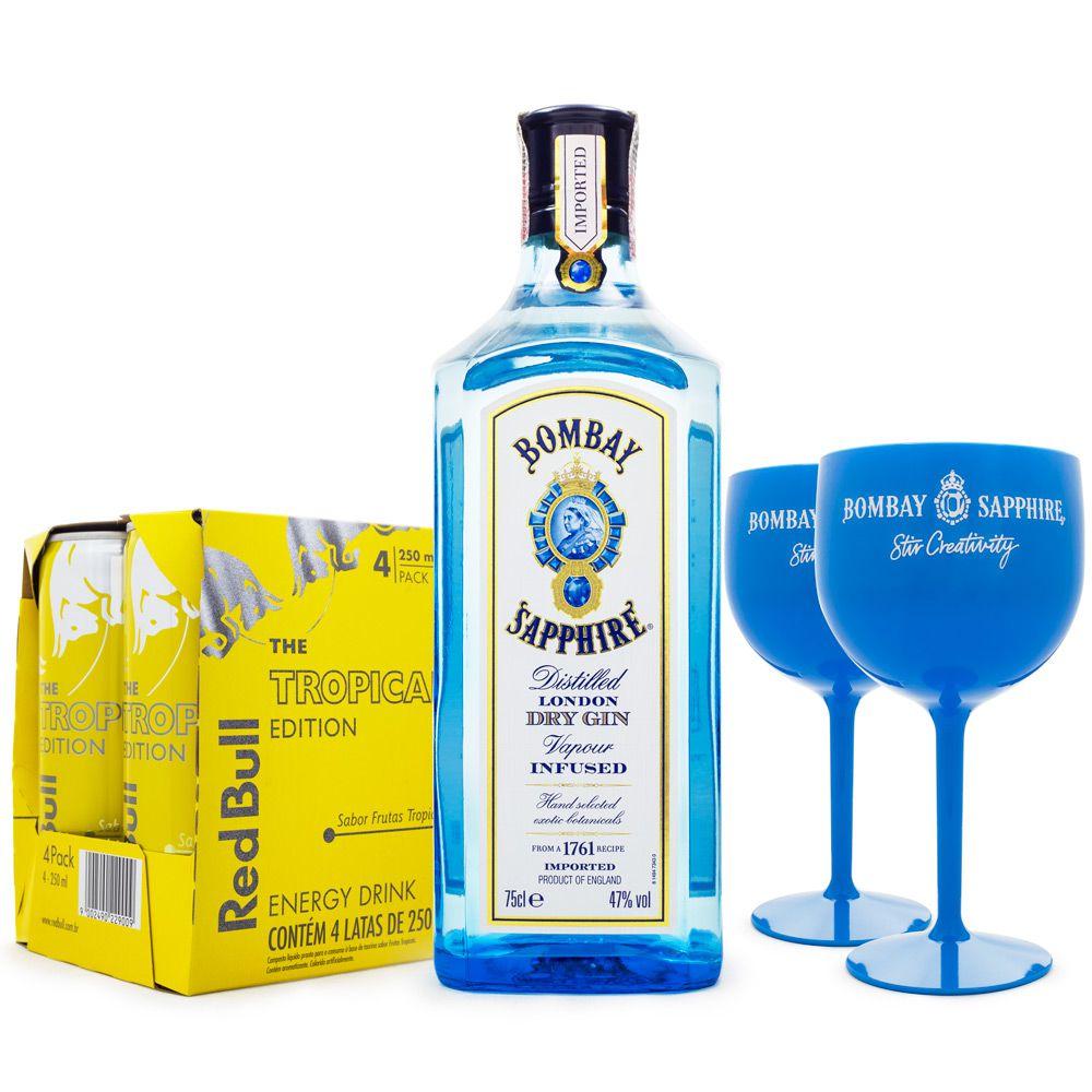 Combo Tropical Gin - 1 Bombay Sapphire 750ml + 4x Red Bull Tropical 250ml + 2x Taças Bombay