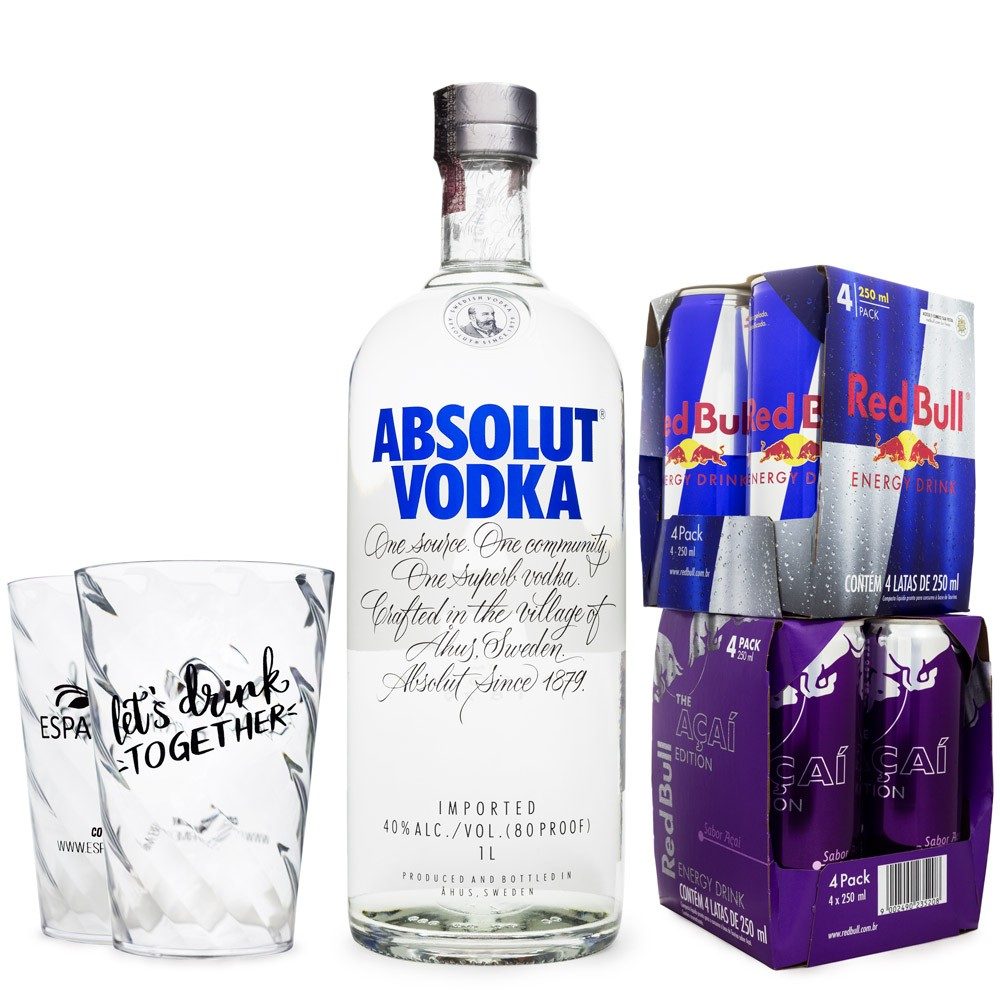 Combo Vodka Absolut 1L + 4 Red Bull Açaí Edition 250ml + 4 Red Bull 250ml + 2 Copos de Acrílico