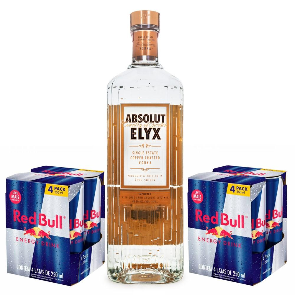 Combo Vodka Absolut Elyx 1,75L + 8 Energéticos Red Bull 250ml