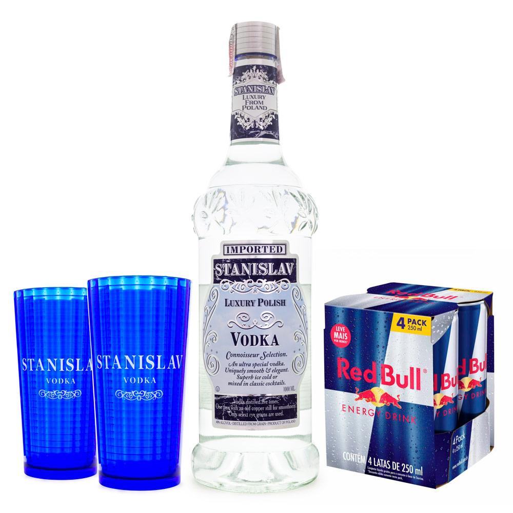 Combo Vodka Polonesa Stanislav 1L + 4 RedBull 250ml + 2 Copos de Acrílico Stanislav