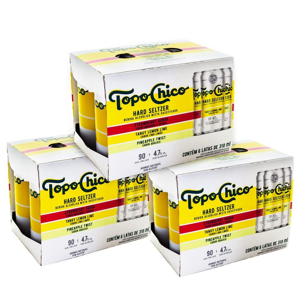 Kit 3 Packs Topo Chico Hard Seltzer - 18 Latas