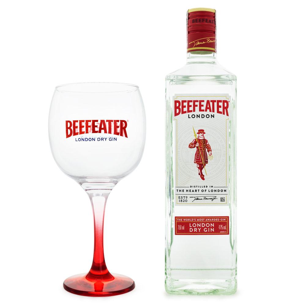 Kit Beefeater Gin London Dry Inglês 750ml + Taça de Vidro