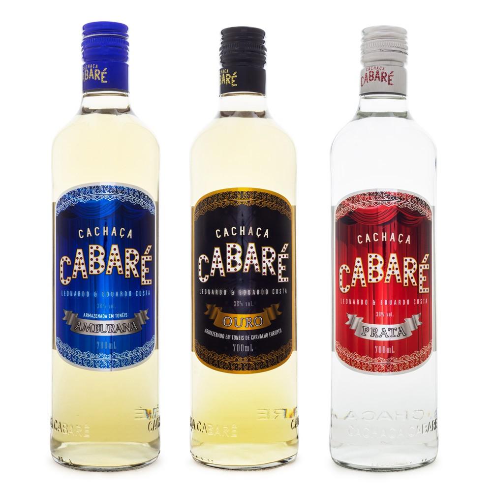 Kit Cachaças Cabaré - Ouro - Prata - Amburana