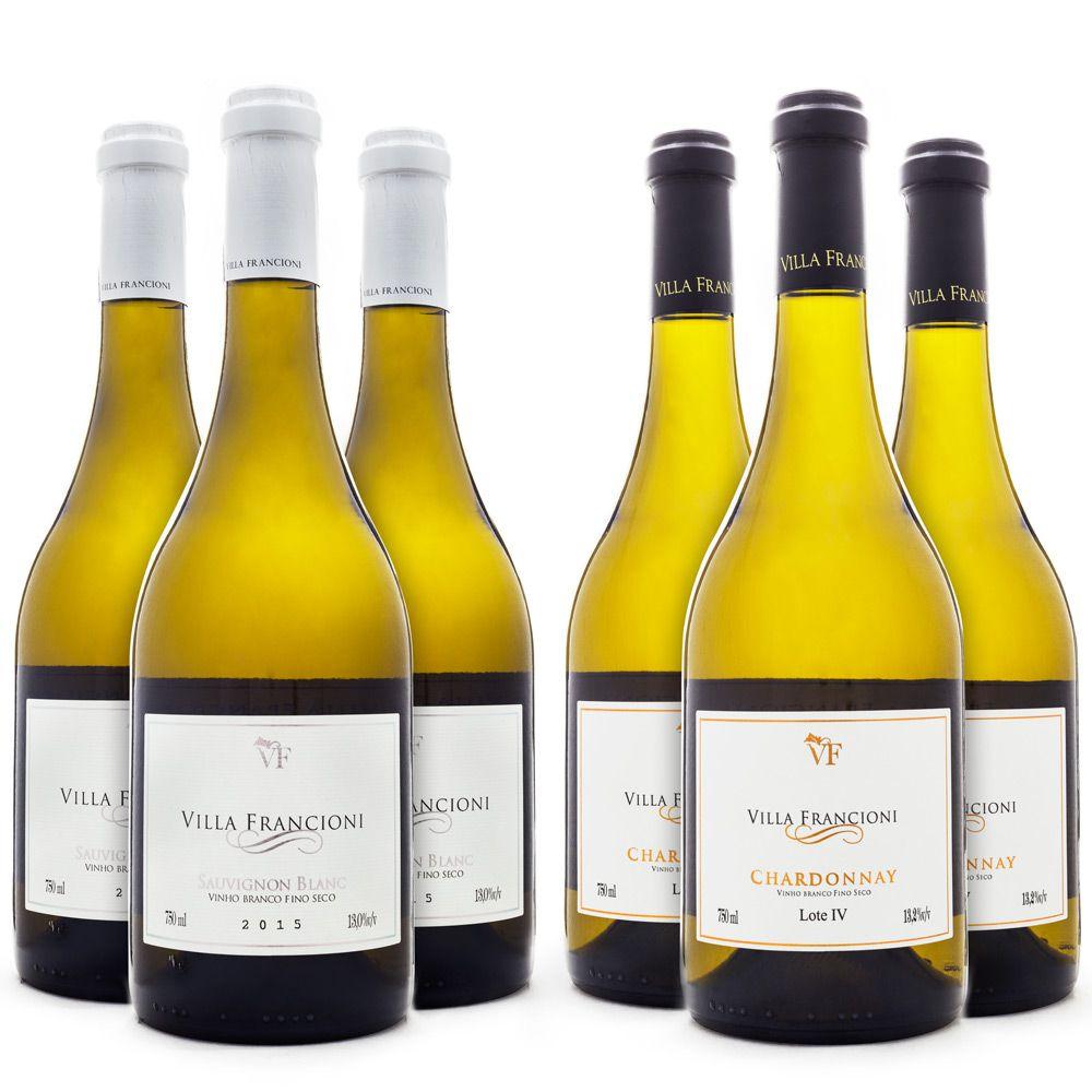 Kit de Vinhos Villa Francioni - Sauvignon Blanc + Chardonnay - 6 Garrafas