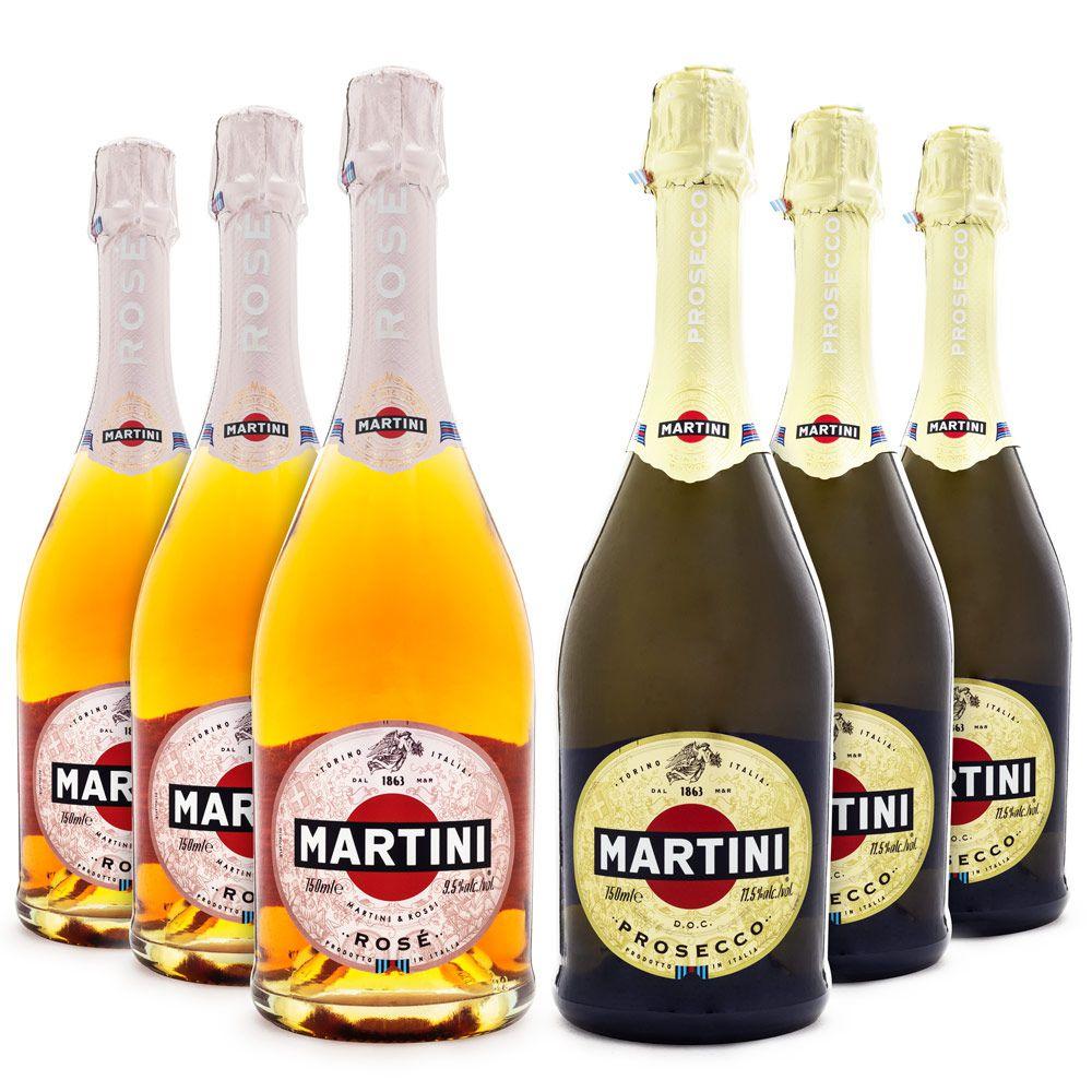 Kit Espumantes Martini - 3x Prosecco + 3x Rosé Demi-Sec