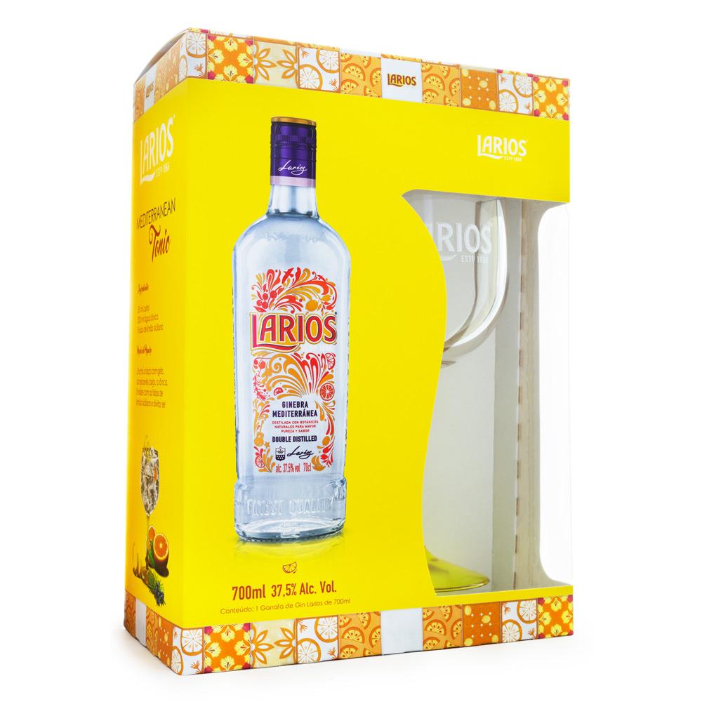 Kit Gin do Mediterrâneo Larios 700ml + Taça de Acrílico