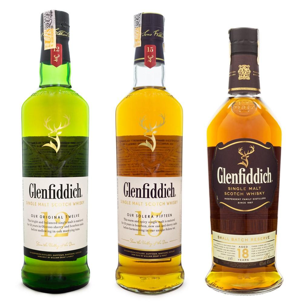 Kit Glenfiddich Single Malt Scotch Whisky - 12, 15 e 18 Anos