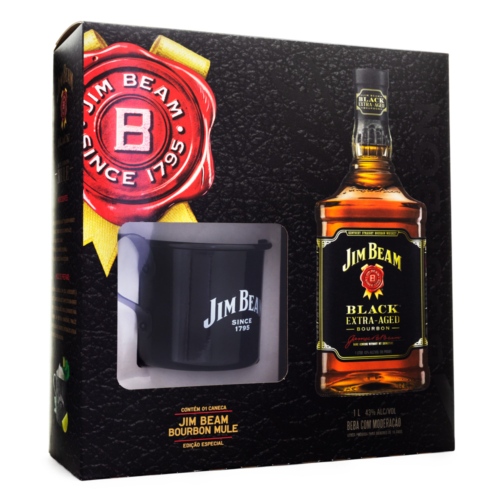 Kit Jim Beam Black Bourbon Whiskey 1L + Caneca da Marca