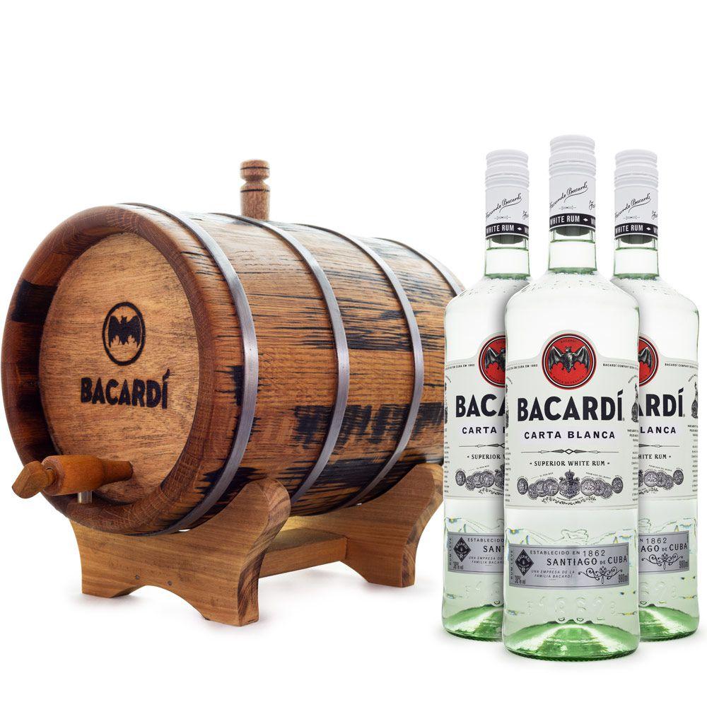 Kit Maturação de Rum em Casa - 3x Rum Bacardi Carta Blanca + Barril de Carvalho 3L
