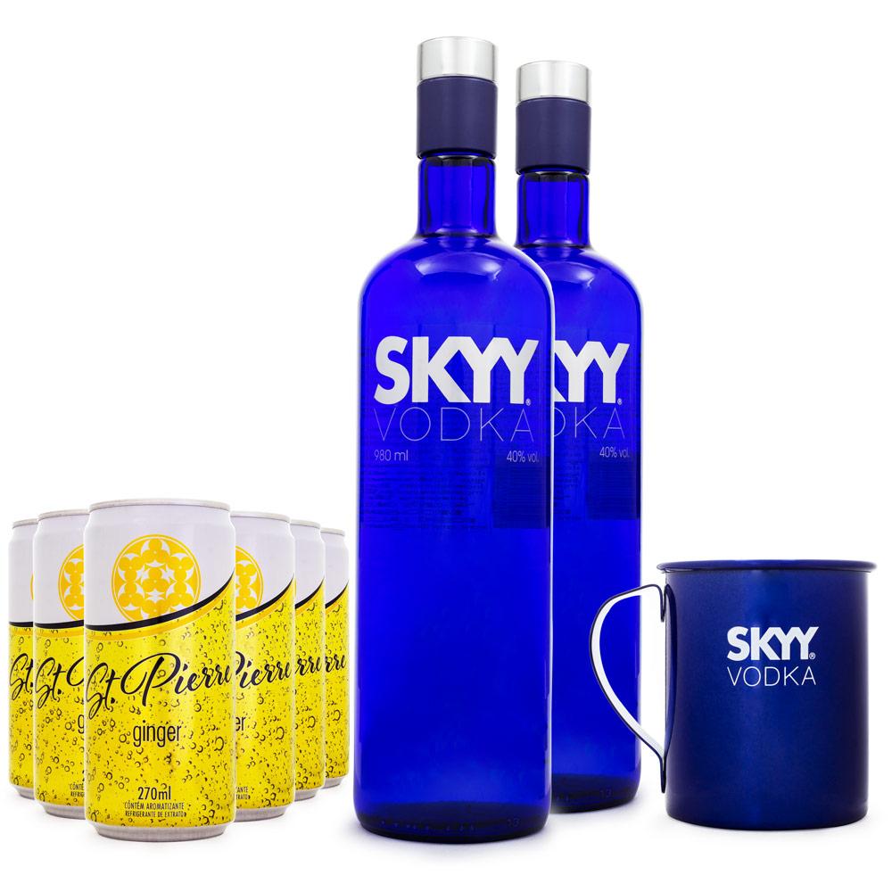 Kit Moscow Mule - 2 Vodkas Skyy 980ml + 1 Caneca de Inox + 6 Ginger Beer St. Pierre 270ml