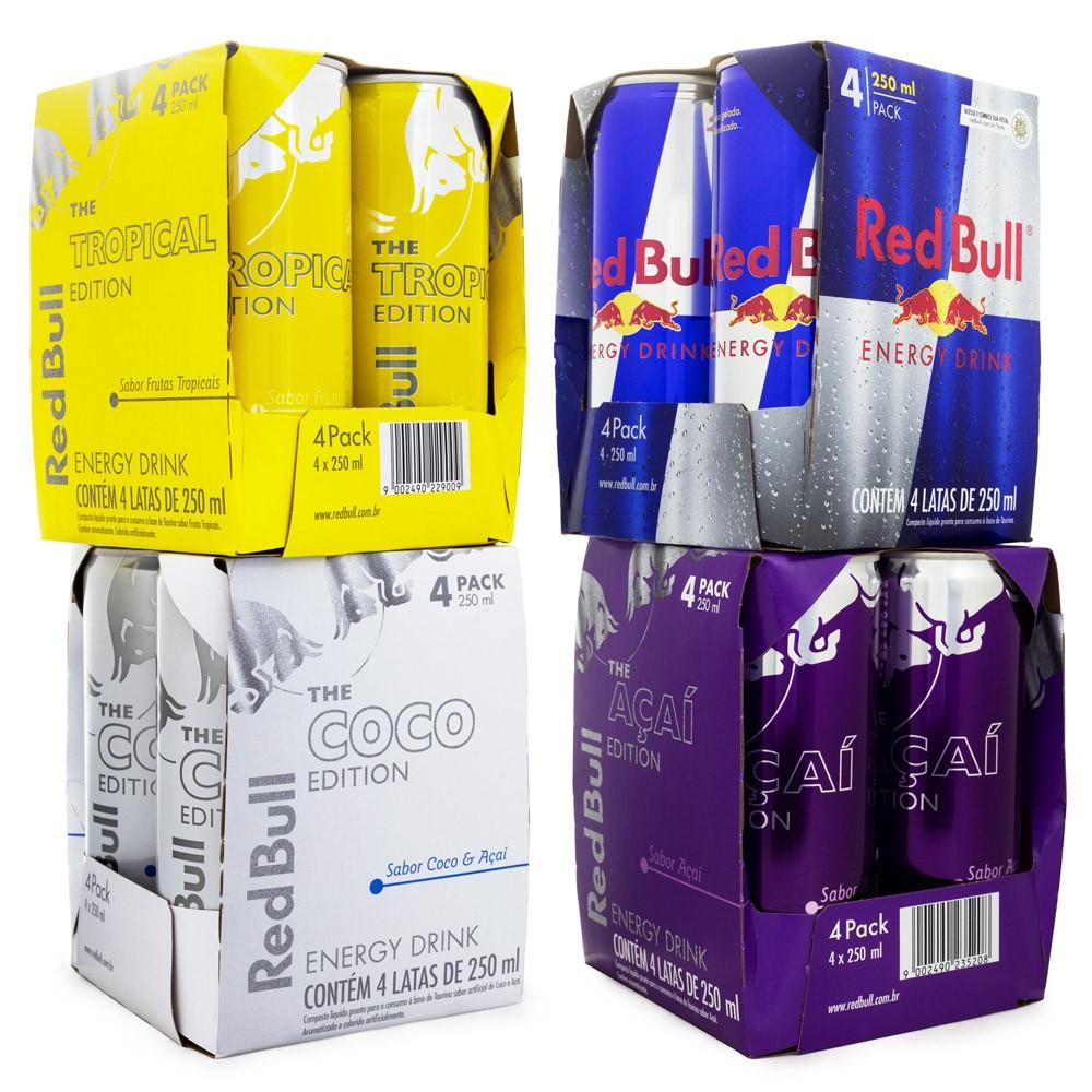 Kit Red Bull - 4 Packs Sabores Diversos