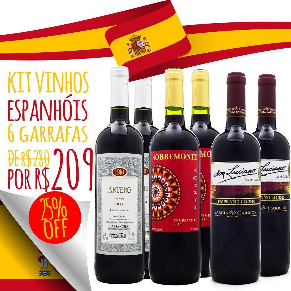 Kit Vinhos da Espanha - 6 unidades