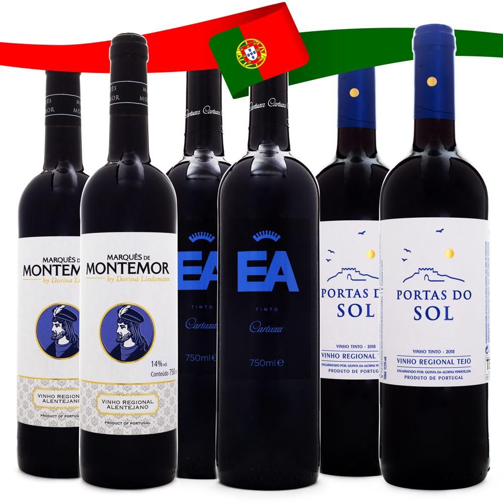 Kit Vinhos Tintos de Portugal - 2 Marquês de Montemor + 2 Cartuxa EA + 2 Portas do Sol