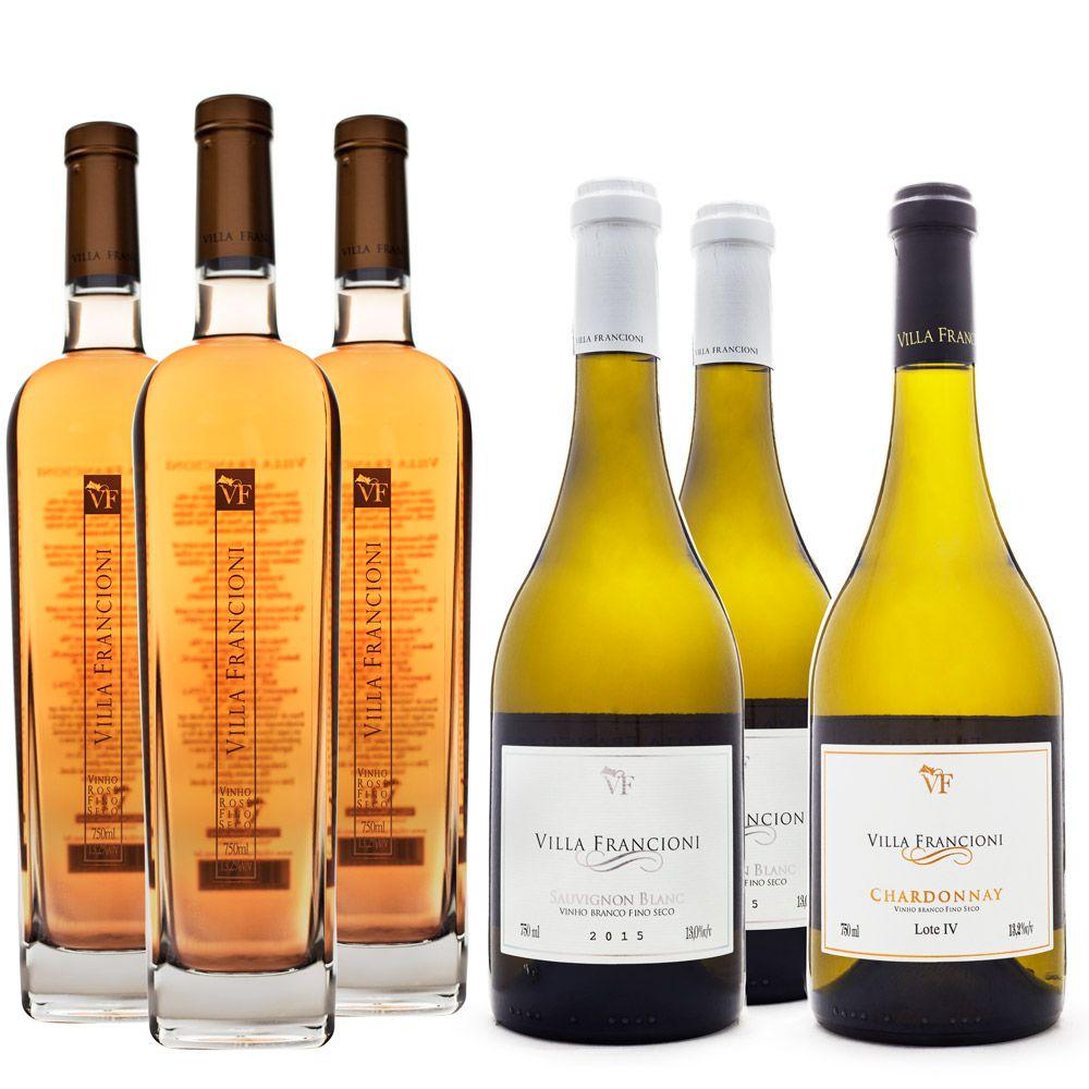 Kit Vinhos Villa Francioni - 3 Rosé + 2 Sauv. Blanc + 1 Chardonnay