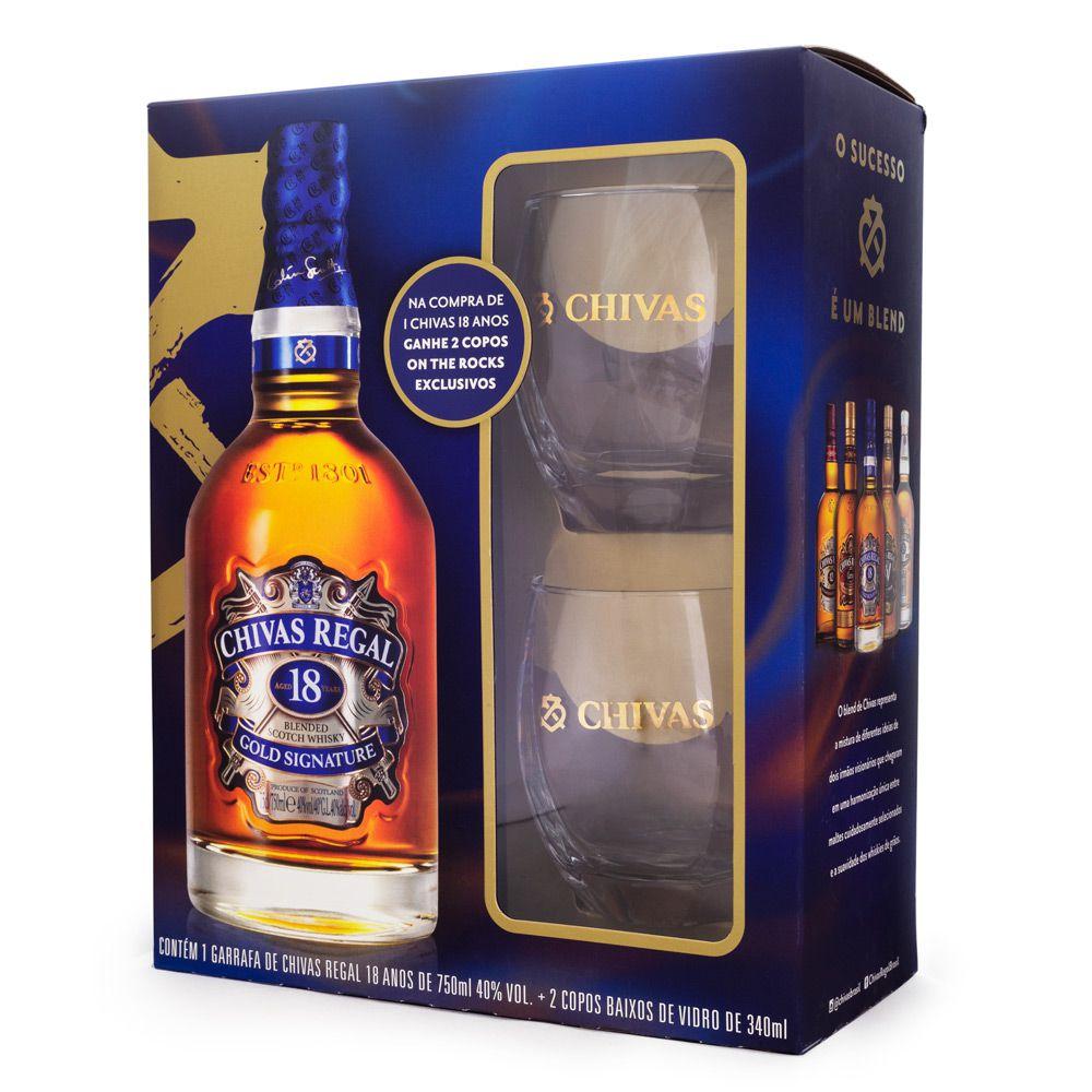 Kit Whisky Chivas Regal 18 Anos 750ml + 2 Copos Exclusivos