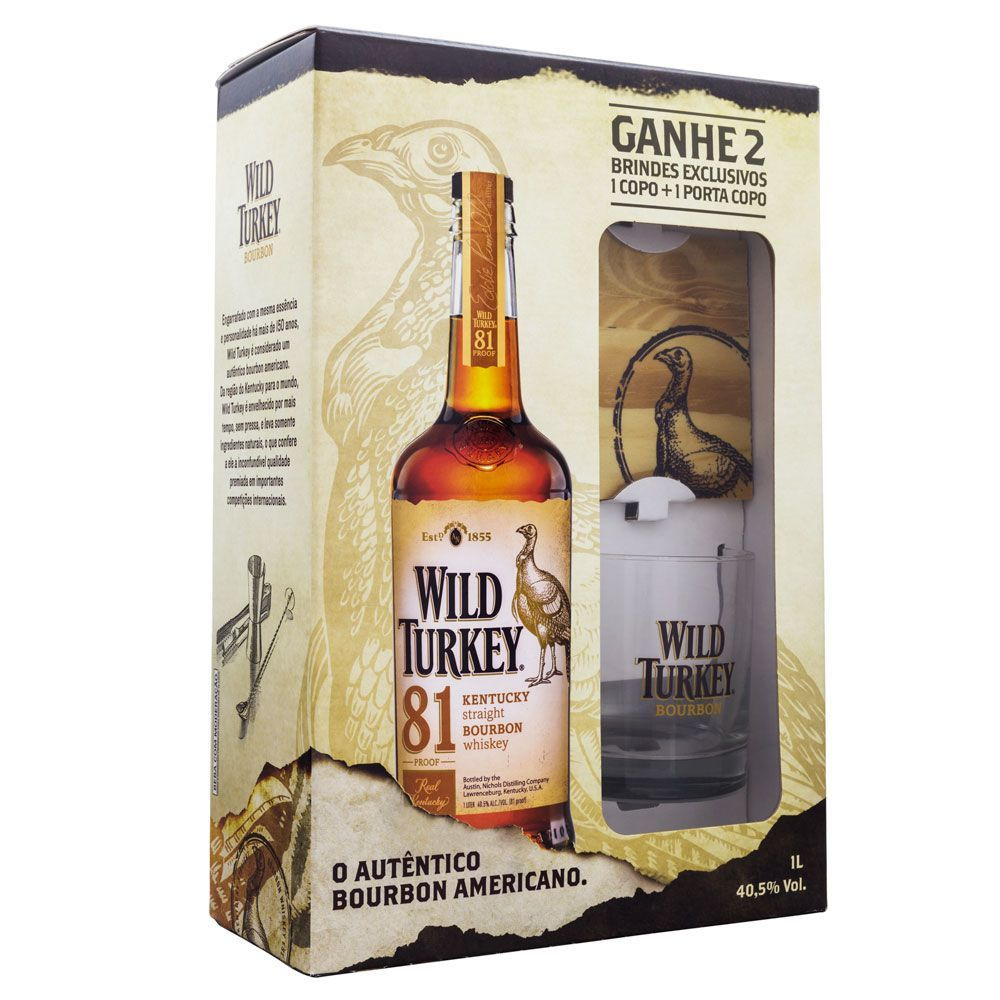 Kit Wild Turkey Bourbon Whiskey 1000ml + Copo e Porta Copo