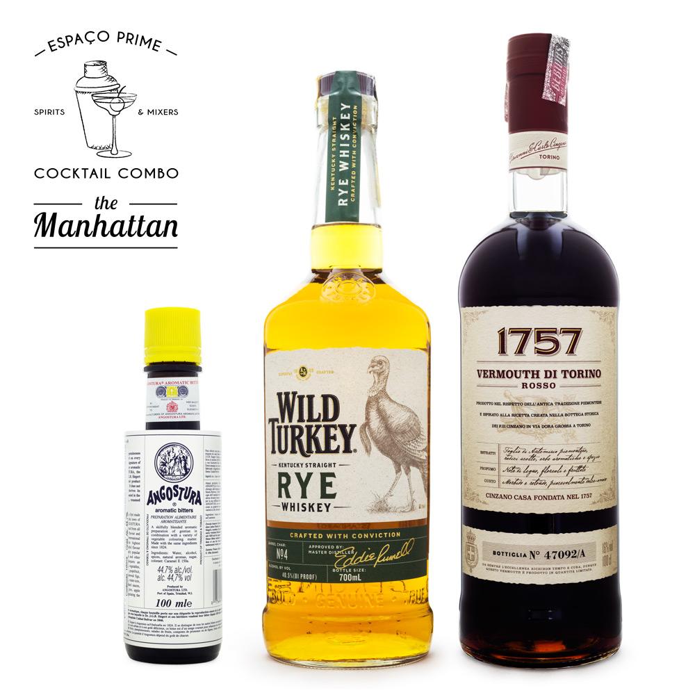 Manhattan Cocktail Kit - Angostura Bitter 100ml + Wild Turkey Rye Whiskey 700ml + Vermouth 1757 1L