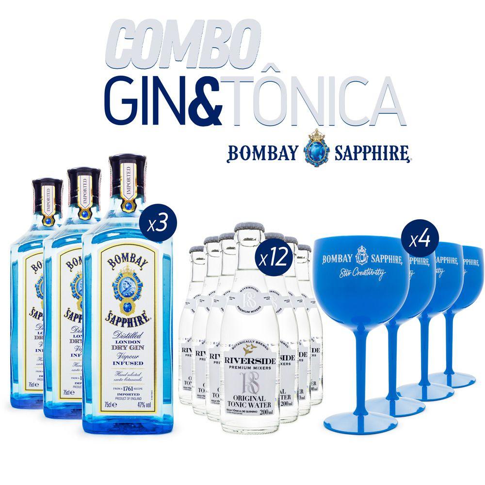 Super Combo G&T Gin Bombay Sapphire + Riverside + Taças