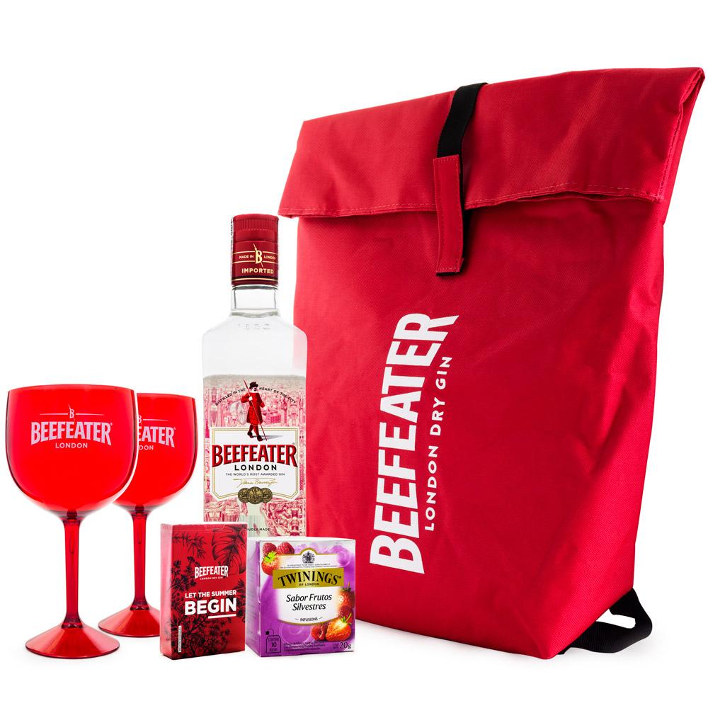 Super Kit Beefeater Gin - 1 Beefeater 750ml + 2 Taças de Plástico 550ml + Baralho Exclusivo + Chá Twinings Frutas Silvestres 10 Sachês + Mochila Térmica 14L