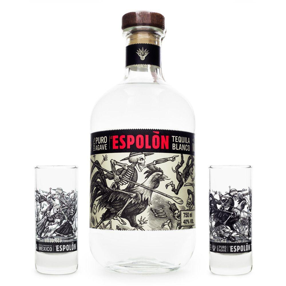 Tequila Espolòn Blanco 750ml + 2 Copos Shot
