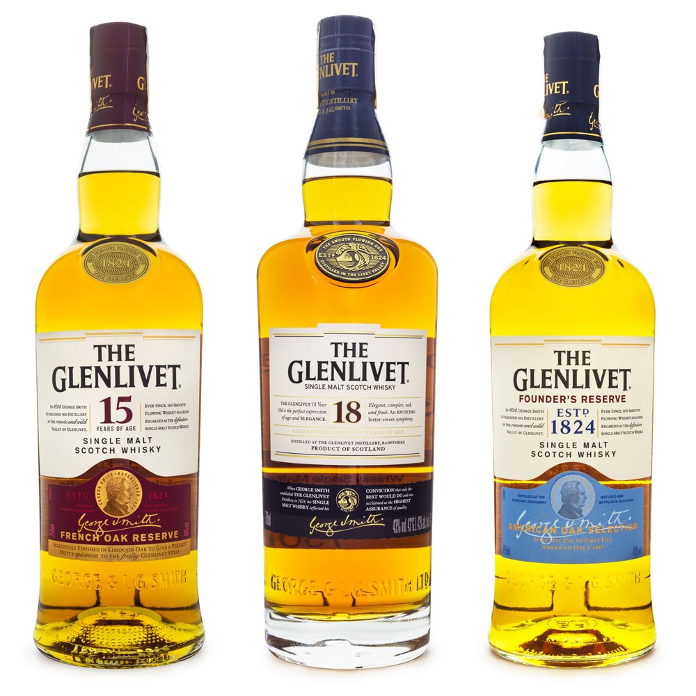 The Glenlivet Distillery Collection - Single Malt Scotch Whisky - 18 Anos - 15 Anos - Founder's Reserve